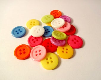 Assortment of 20 colorful buttons - scrapbooking - embellishment - sewing