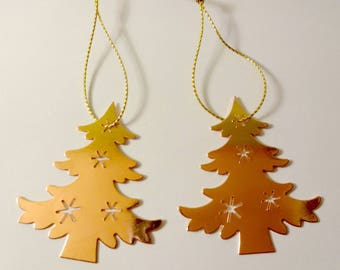 2 ornaments of Christmas - gold Christmas trees - embellishments - Christmas tree