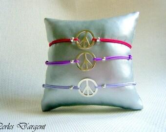 bracelet sur lien  peace and love en argent 925