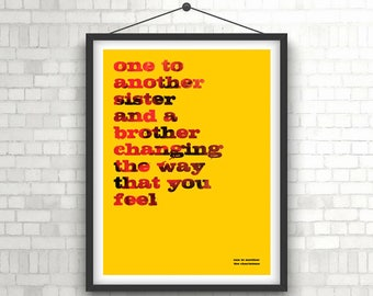 THE CHARLATANS - One To Another Lyrics Poster Print