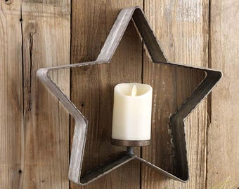 Galvanized Star Candle Holder