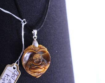 "necklace ""shield"" - Tiger eye - Tiger eye Buddha"