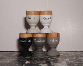 2 eggcups customizable with your names, eco design. 2