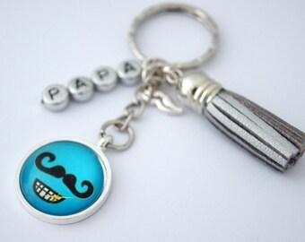 Keychains mustache good celebrate dad - smile ultrabright