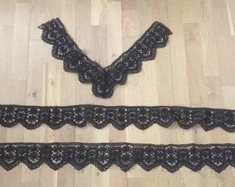 Side. Three pieces black gekantklost lace. Vintage Lace Dentelle aux fuseaux