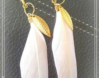 Gold and pale pink double feathered earrings