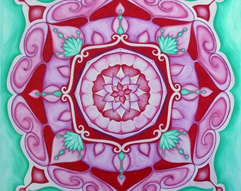 Loving Relationship Mandala, original oil on canvas 60cm x 60cm