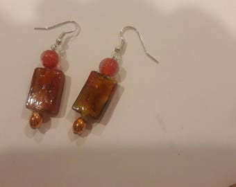 Orange square with orange beaded earrings