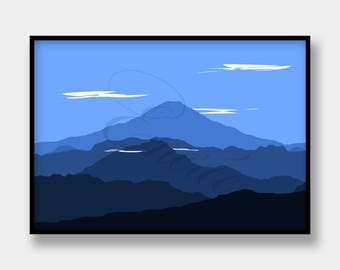 Digital print: mountain landscape