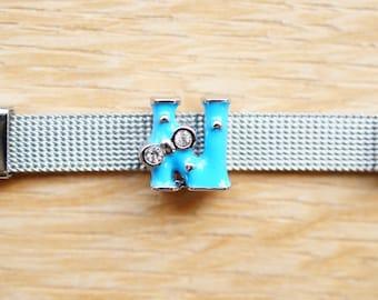 bead letter N light blue bow width alphabet for bracelet
