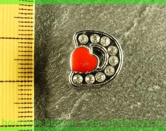 Pearl Heart 1 d bandwidth rhinestone alphabet for bracelet