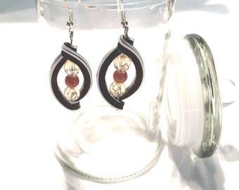 Brown Coffee capsule - upcycled jewelry earrings