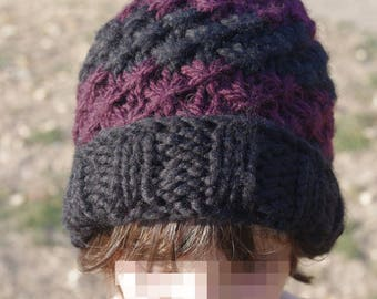 Pompom - tube Hat handmade knit