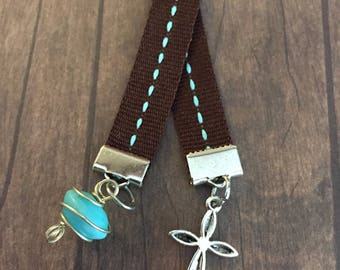 Turquoise Bookmark | Cross Ribbon Bookmark | Dangle Charm Bookmark