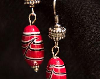 Abigail: Red Striped Earrings