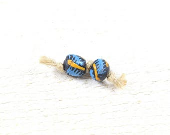 2 African craft beads blue recycled glass decorated around 10 to 13mm x 12-14mm