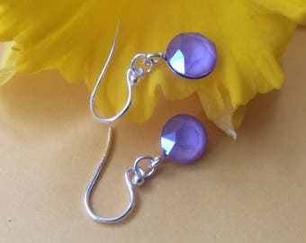 Sterling silver drop earrings with lilac Swarovski crystal charms
