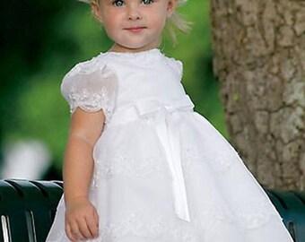 Sarah Louise Girls White Flower Girl Dress