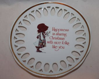 Holly Hobbie Happiness Christmas plate
