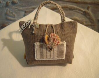 PIN cotton taupe shabbby chic handbag