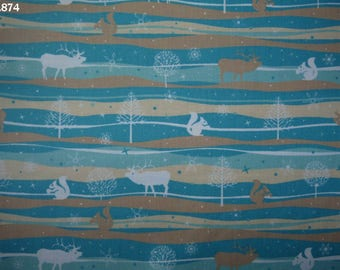 Squirrels and C874 reindeer fabric turquoise/ecru/beige/white coupon 35x50cm