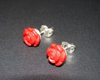 Real coral pink earrings