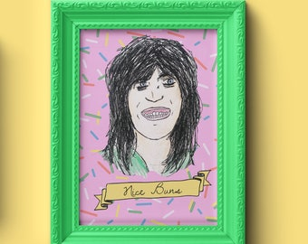 Noel Fielding Great British Bake Off Nice Buns Illustrated Print