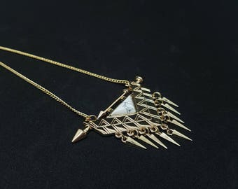 ALICE fringe necklace in white and gold