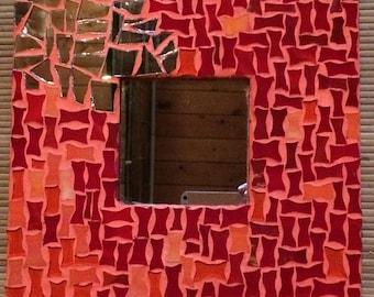 Square orange red mosaic mirror
