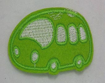 patch applique car green embroidery, sewing pattern fusible