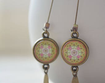 Big pink and green rose earrings