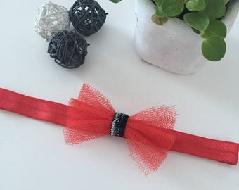 """Baby - child headband """"red tulle"""" at the top for Christmas, new year's Eve, birth gift, baptism"""