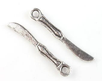 set of 2 charms knives silver plated 25 x 4 mm - also available spoon and fork