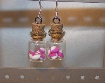 Earrings mini vial or bottle Marshmallow