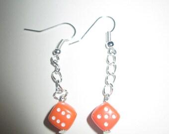Orange dice earrings