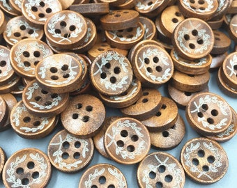 10 buttons 4 hole wood decor white limed (T45) 12 mm olive branch