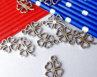 Charm clover four leaves 11 x 17 mm 5 charms (N55)