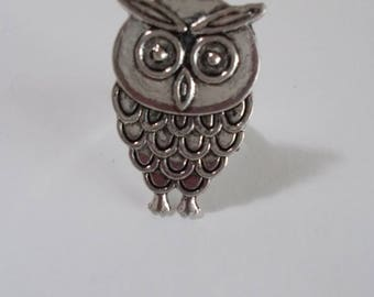"""OWL"" ring adjustable metal antiqued"