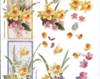 paper cut card 3D Daffodil flowers