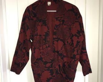 Red & Black Floral Print Jacket
