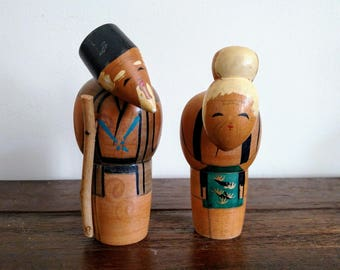 Japanese Couple Wooden Folk Art Dolls