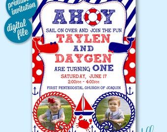 Ahoy Birthday Invitation