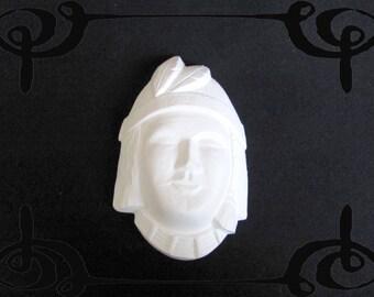 Sujet en plâtre blanc à peindre soi-même moulé à la main tête Indien d'Amérique