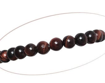 Set of 5 Tiger's eye beads, round, red coffee, 6 mm diameter, 1.5 mm hole
