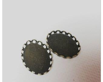 Set of 2 cabochon 13 * 18 mm antique bronze color support