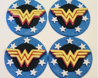 12 Wonder Woman Edible Fondant Cupcake Toppers