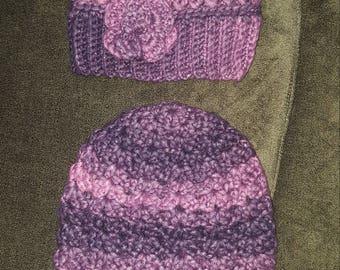 Purple chunky slouchy hats