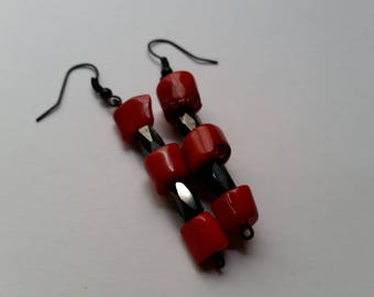Red Coral and Hematite Earrings