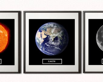 Set of 3 prints, Sun, Moon, Earth, Print on watercolor paper, Print on canvas, Fine Art Print , Wall Décor, Home décor, Office décor, Gift