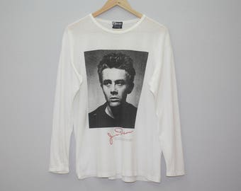 Vintage James Dean Foundation 1991 White Cotton Long Sleeves T Shirt Made in USA Size M